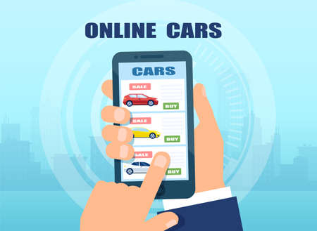 Vector of a man using mobile app to buy a car