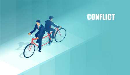 Vector of two conflicting business men riding a bicycle in opposite directions.