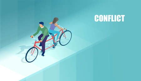 Vector of a young couple man and woman riding same bicycle in opposite direction