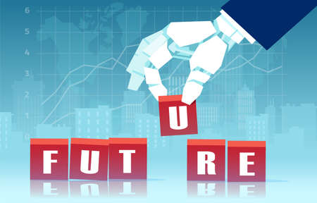 Vector of a robot hand assembling word future with red cubes  Иллюстрация