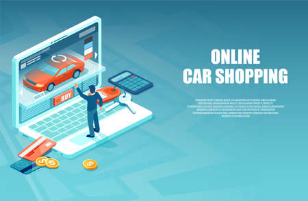 Vector of a man buying a car in the internet using auto configurator online