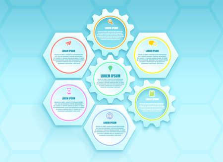 Vector of honeycomb gear structures with social media and business icons  Иллюстрация