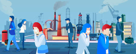 Vector of people in protective face masks walking on streets of a city with polluted air against factories emitting smoke on background.