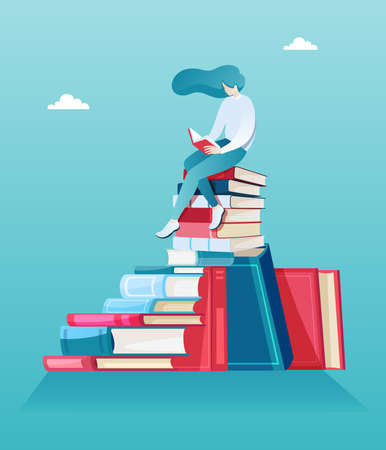 Vector of a young woman sitting on a pile of books and reading