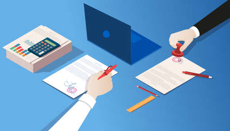 Vector of a notary and businessman certifying legal documents by signature and seal stamp closing a sale deal