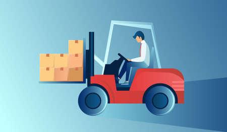 Vector of men forklift oeprator loading boxes for delivery service.  Иллюстрация