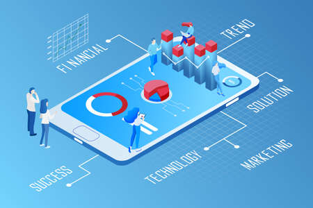 Data analytics concept. Vector of business people following financial trends using mobile app technology Vettoriali