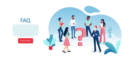Vector of multicultural people standing around a question mark looking for an answer  Иллюстрация