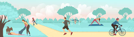 Vector of young people exercising outdoors in the city park, running, cycling and practicing yoga
