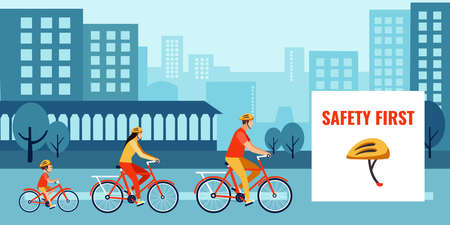 Vector of a family riding bikes, cycling in the city street wearing a safety helmets Ilustracja