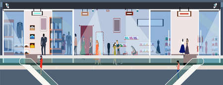 Vector of stylish people women and men shopping in a mall