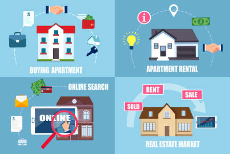 Real estate concept. Vector of a process of buying and searching online an apartment or home