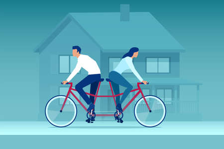 Vector of a young couple woman and man riding tandem bicycle in different directions.