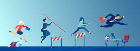 Vector of business people conquering adversity, overcoming obstacles on the way to career growth