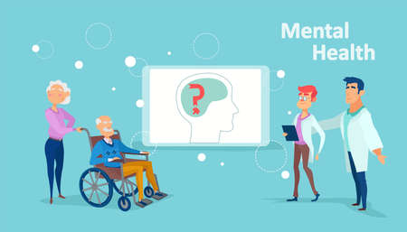 Vector of a medical team assisting senior patiens with dementia, brain damage or stroke Illustration