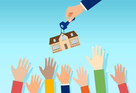 Vector of a real estate agent with house key offering property for sale to a crowd of interested people Vetores