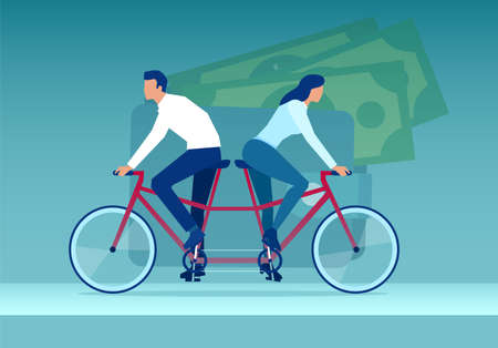 Vector of a young couple woman and man riding tandem bicycle in different directions ona background of a wallet