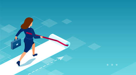 Vector of a businesswoman painting her own career path 向量圖像