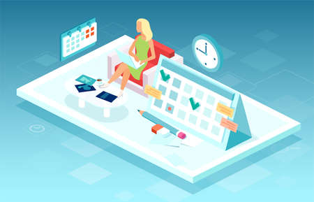 Vector of a business woman working on laptop computer making agenda on a personal organizer