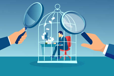 Vector of a business man working at desk trapped inside birdcage being observed by managers