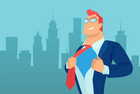 Vector of a super hero businessman on a cityscape background