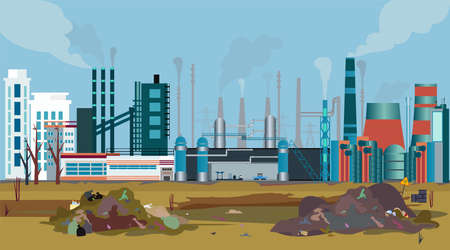 Vector of a working factory polluting air, water and soil with toxic waste chemicals