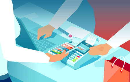 Vector of a consumer keeping smartphone over cashier machine to pay for purchase in a supermarket Ilustração Vetorial