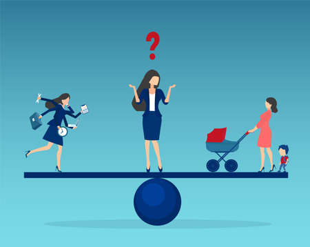 Vector of a young woman standing on a scale, choosing between busy business career or family lifestyle