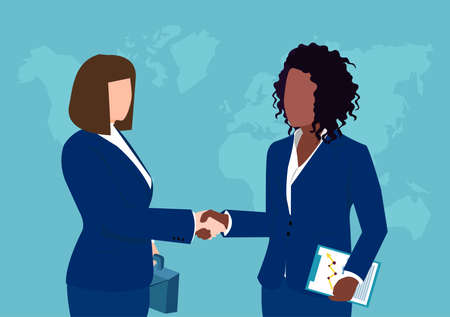 Vector of two businesswomen shaking hands isolated on world map background.