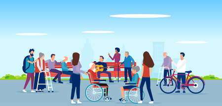 Vector of disabled elderly people, handicapped characters being assisted and entertained by young volunteers in the city park