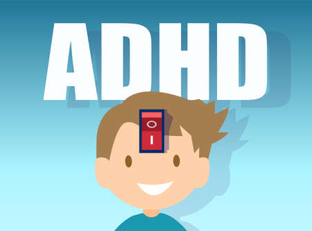 Vector of a little boy with ADHD