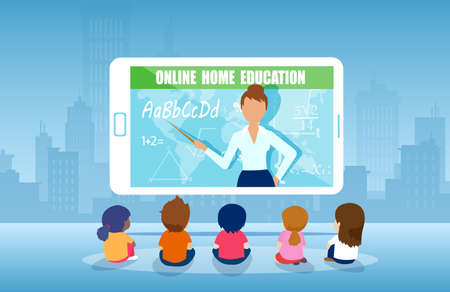 Vector of a group of kids watching online teacher class on tablet computer. Internet education at home program concept