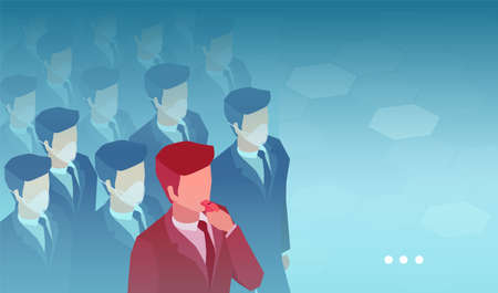 Vector of a crowd of people wearing facial masks and a whistleblower man