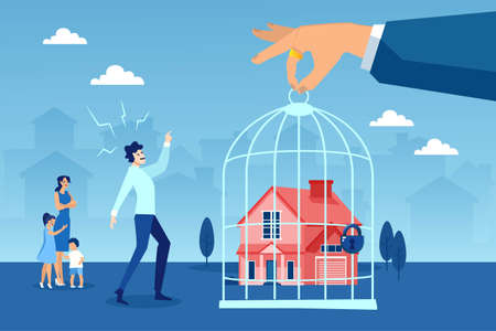 Foreclosure concept. Vector of a stressed young family being evicted from their house Illustration