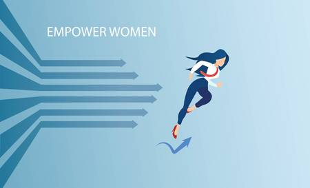 Vector of an ambitious young woman striving for success