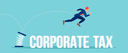 Vector of a big company executive jumping over a corporate tax
