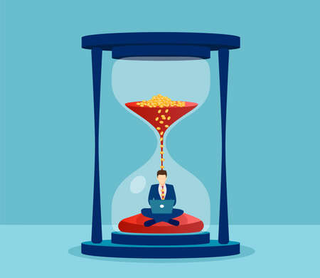 Vector of a man in suit sitting inside hourglass and working on his laptop. Productivity and time management concept.