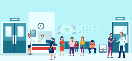 Vector of people sitting on chairs and waiting for doctor appointment in outpatient clinic.  Illustration