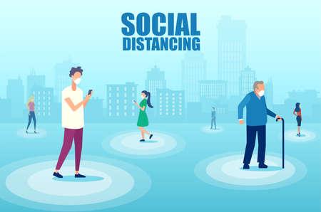 Vector of diverse people in the city taking social distance precaution to prevent spread of Coronavirus infection Ilustración de vector