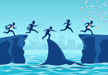 Vector of opportunistic business people taking advantage of difficult economic times and crisis