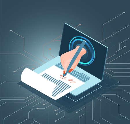 Vecteur isométrique d'un homme d'affaires signant des documents via un logiciel de signature électronique Vecteurs