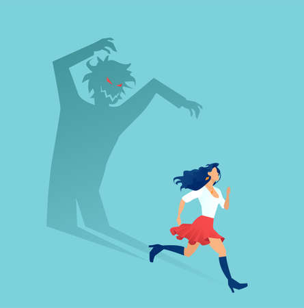 Vector of a scared young woman running away from a scary man shadow Vektorové ilustrace