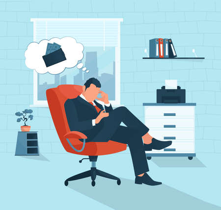 Vector of a sad businessman having financial problem thinking of economy crisis lack of money
