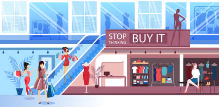 Vector of young women shopping in a mall buying clothes and shoes