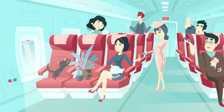 Vector of various passengers inside airplane on the flight to travel destination