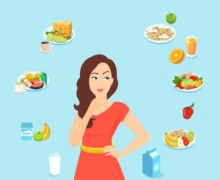 Vector of a fit woman thinking of a diet plan, daily menu