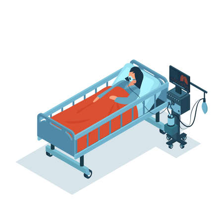 Isometric vector of a critically ill female patient on ventilator machine receiving oxygen therapy