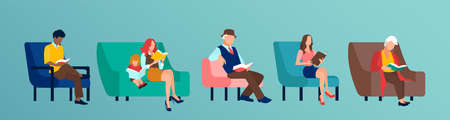 Vector of a diverse group of people reading books sitting on chair or sofa
