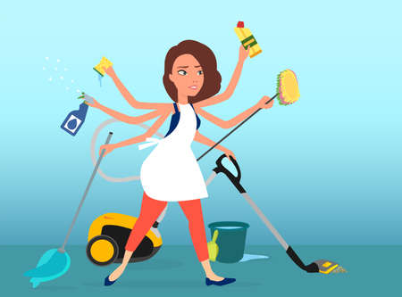 Vector of a super busy multitasking woman washing, vacuuming and cleaning her house  Ilustração