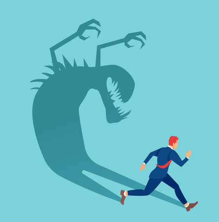 Vector of a businessman running away from his own shadow